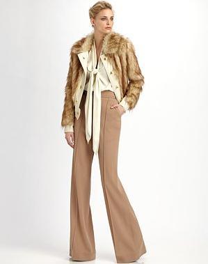 RZ Zoe Faux Fur Jacket 292 & Natalie Tie Neck Blouse 191 & Anjelica Wool Crepe Pants 244