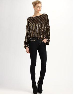 RZ Bianca Sequined Dolman Top 178 & Julie Skinny Jeans 113