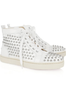 Christian Louboutin - Louis studded patent leather sneakers - £535