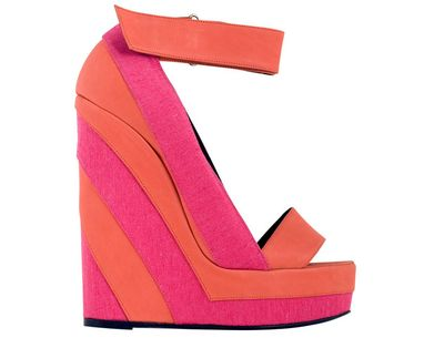 Pierre Hardy pink and orange striped wedges 630