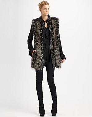 RZ Marianna Faux Fur Vest 146 & Natalie Tie Neck Blouse 191 & Julie Skinny Jeans 113