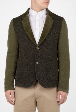 Comme Des Garcons Shirt - Khaki Corduroy and Tweed Blazer 735