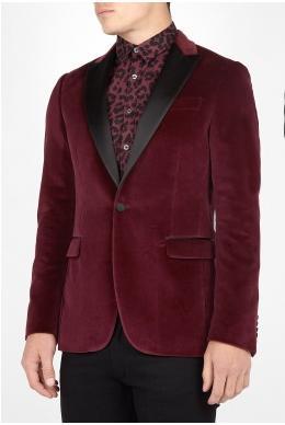 Moschino Bordeux Velvet Satin Lapel Tuxedo Blazer £599