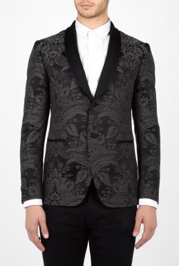 Moschino Grey Brocade Shawl Collar Tuxedo Blazer £679