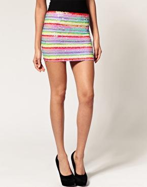 ASOS Mini Skirt in Rainbow Sequins 25