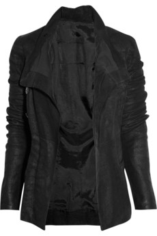 Rick Owens Asymmetric textured leather biker jacket 1370