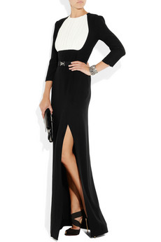 Alessandra Rich Silk Paneled Crepe Jersey Column Gown 1305 2