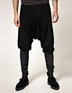 ASOS Horace black drop crotch leather panel leggings 125