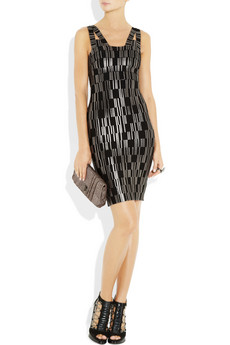 Herve Leger metallic paneled bandage dress 1830