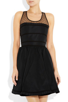 Red Valentino Mesh Yoke Taffeta Dress 745