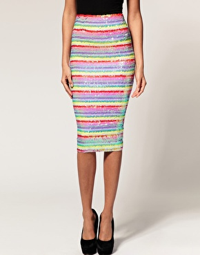 ASOS Pencil Skirt in Rainbow Sequins 30