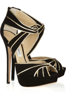 Jimmy Choo Koko Metallic Leather and Suede Sandals 750
