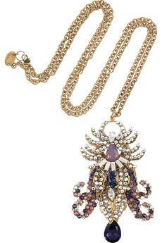 Bijoux Heart Cuivre 24 karat gold plated swarovski crystal necklace 775