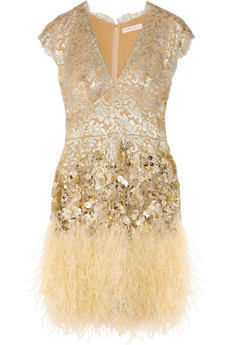 Matthew Williamson Feather and crystal embellished lace dress 3895