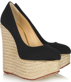 Charlotte Olympia Carmen Canvas and Rope Wedge Pumps £565