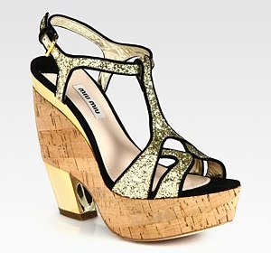 Miu Miu leather and suede cork wedge sandals 504