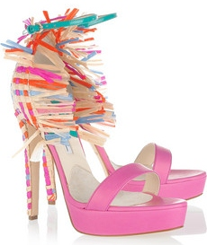 Brian Atwood Mojito Leather and raffia sandals 940