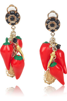 D&G Cameo and red pepper clip earrings 240