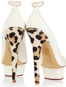 Charlotte Olympia Love Dolly Twill and Calf Hair Pumps 620 2