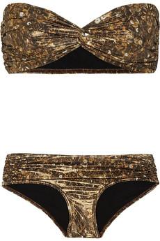 Lanvin Sequin Print metallic beandeau bikini 610