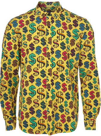 TopMan Yellow Dollar Sign Print Shirt 32
