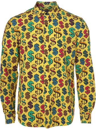 TopMan Yellow Dollar Sign Print Shirt 32