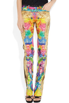 Cavalli Printed Stretch Silk Pants 810 2