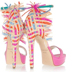 Brian Atwood Mojito Leather and raffia sandals 940 3