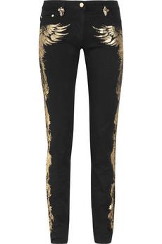 Cavalli Appliquéd mid-rise skinny jeans 670