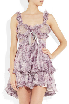McQueen Ruffled printed silk-chiffon mini dress 5140 2