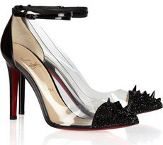 Louboutin Just Picks 100 studded paten leather and pvc pumps