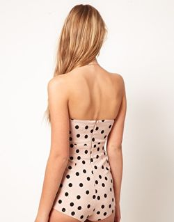ASOS Bandeau Playsuit in Spot with Bow £35 2