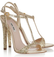 Miu Miu Glitter finish leather sandals 460