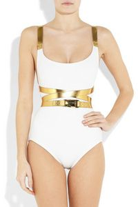 Michael Kors Speed clip metallic trimmed swimsuit 280 3