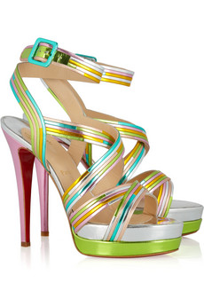 Christian Louboutin meteorita 140 metallic leather sandals