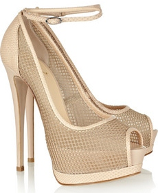 Giuseppe Zanotti Mesh and lizard effect leather sandals 465