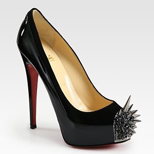 Louboutin Kryptonite suede and patent leather spike pumps 1073