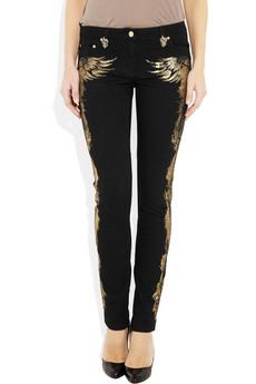 Cavalli Appliquéd mid-rise skinny jeans 670 2
