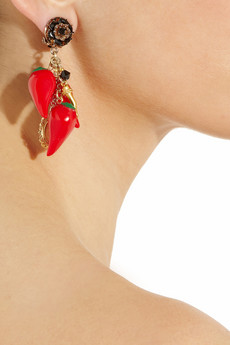 D&G Cameo and red pepper clip earrings 240 2