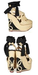 Charlotte Olympia Rapunzel raffia and crepe de chine wedge pumps 895 12