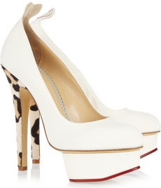 Charlotte Olympia Love Dolly Twill and Calf Hair Pumps 620