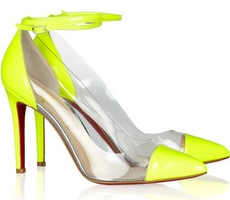 Louboutin Un Bout 100 Patent Leather and PVC Pumps