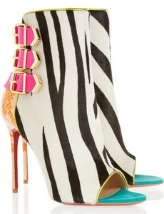 Christian Louboutin Triboclou 100 Zebra Print Calf Hair and Python Ankle Boots £1,195