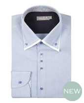 Laura Ashely Blue White Fine Stripe Double Collar Shirt £70