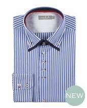 Laura Ashely Blue White Stripe Double Collar Shirt £70