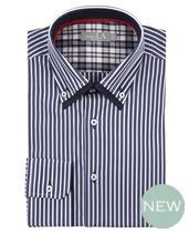 Laura Ashely Navy White Stripe Double Collar Shirt £70