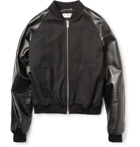 Saint Laurent Leather Sleeved Cropped Bomber Jacket £855